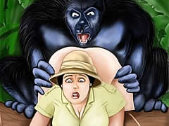Gorilla likes deep anal sex with...